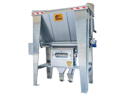 Hopper with rotary drum separator