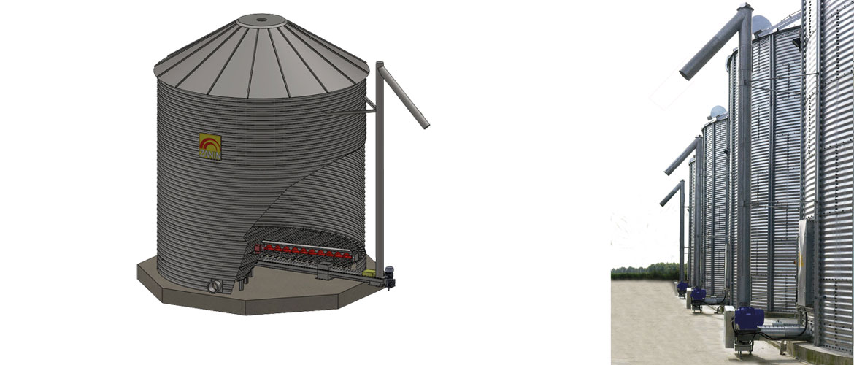 Extracteur à vis d'archimède de redistribution pour silos